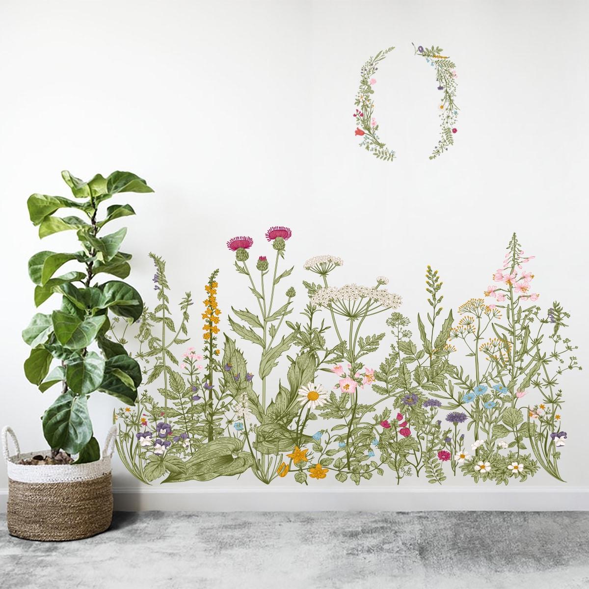 Стикер на стену с цветочным узором фото