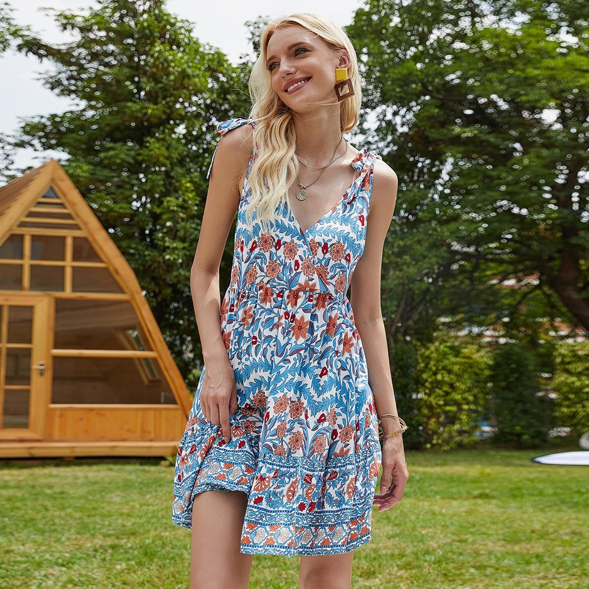 SHEIN / Cami Kleid mit Knoten auf Schulter und Blumen Muster