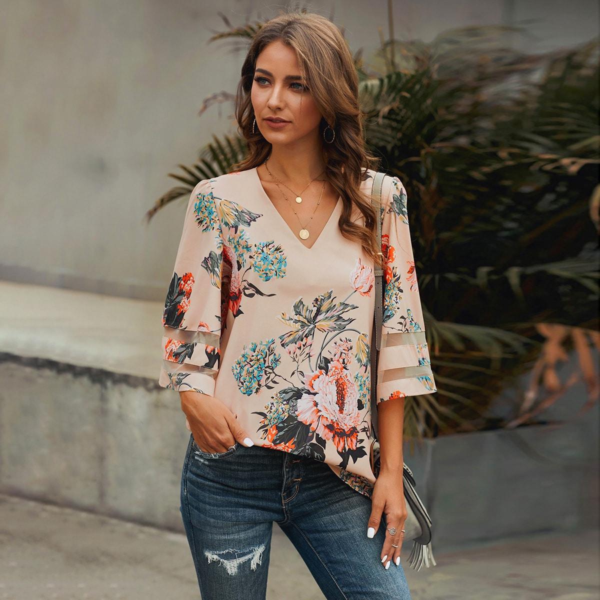 SHEIN / Bluse mit Blumen Muster, Netzeinsatz und Puffärmeln