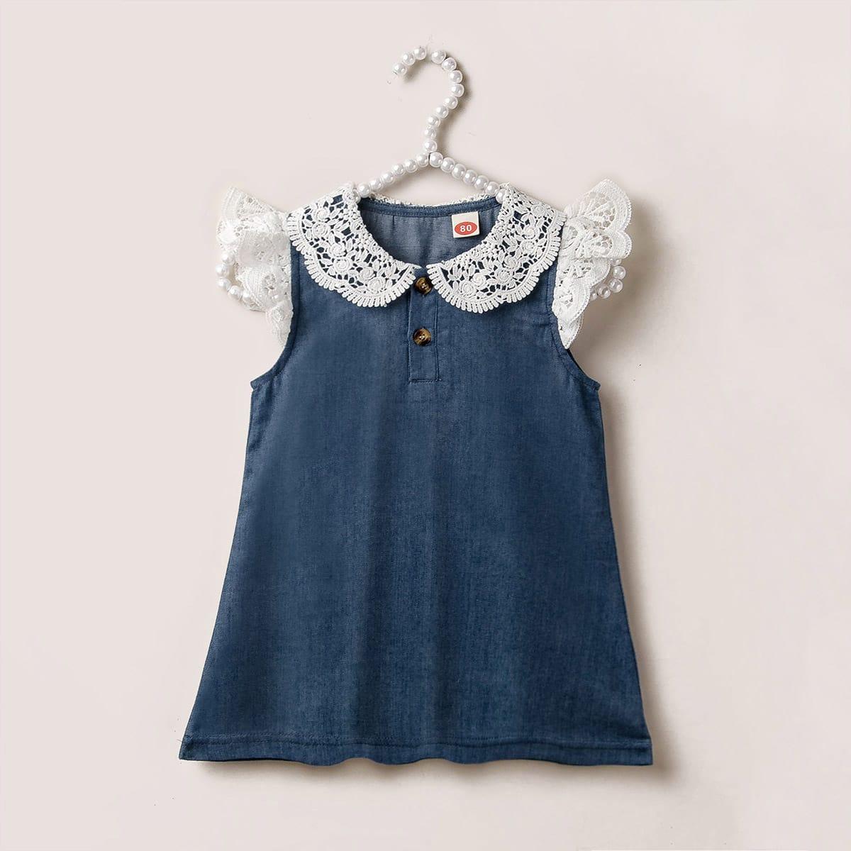 Платье с пуговицами и кружевом для девочек от SHEIN