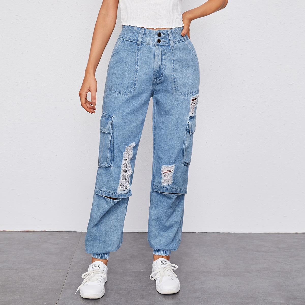 Рваные джинсы с карманом