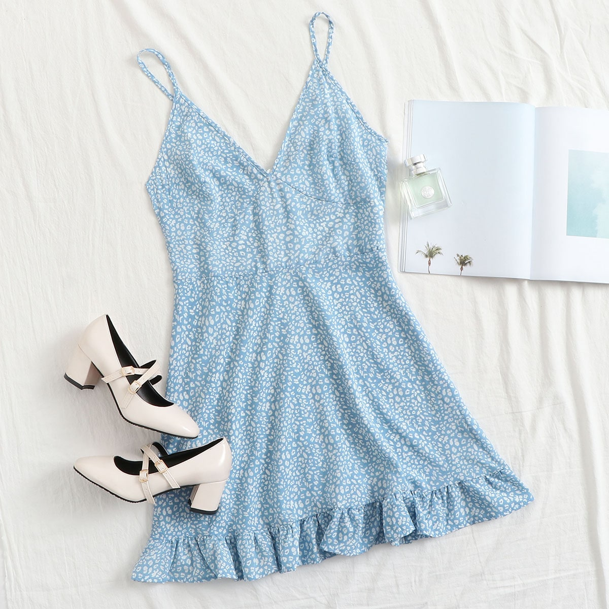SHEIN / Zip Back Ruffle Hem Leopard Cami Dress