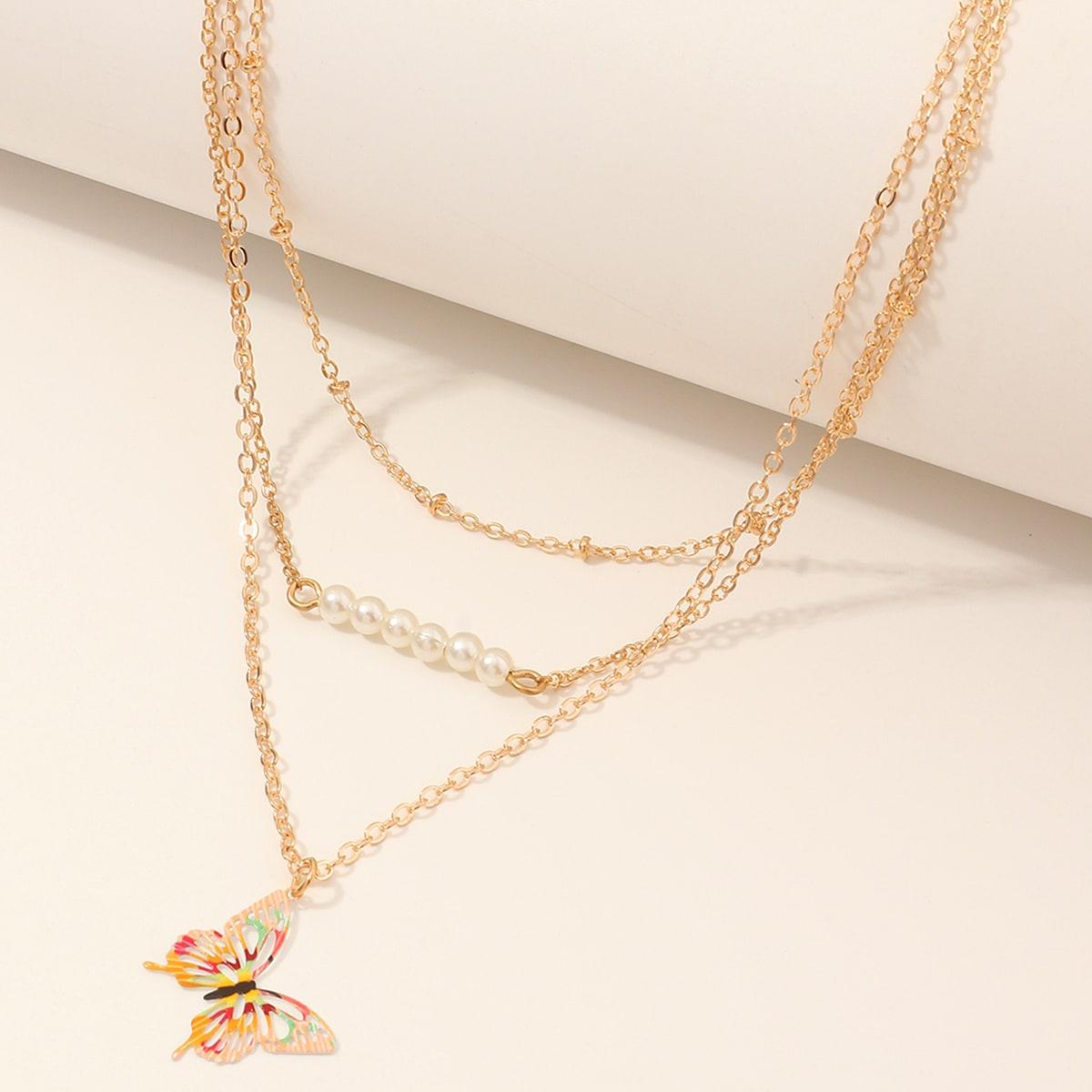 SHEIN / Mädchen Halskette mit Schmetterling Anhänger