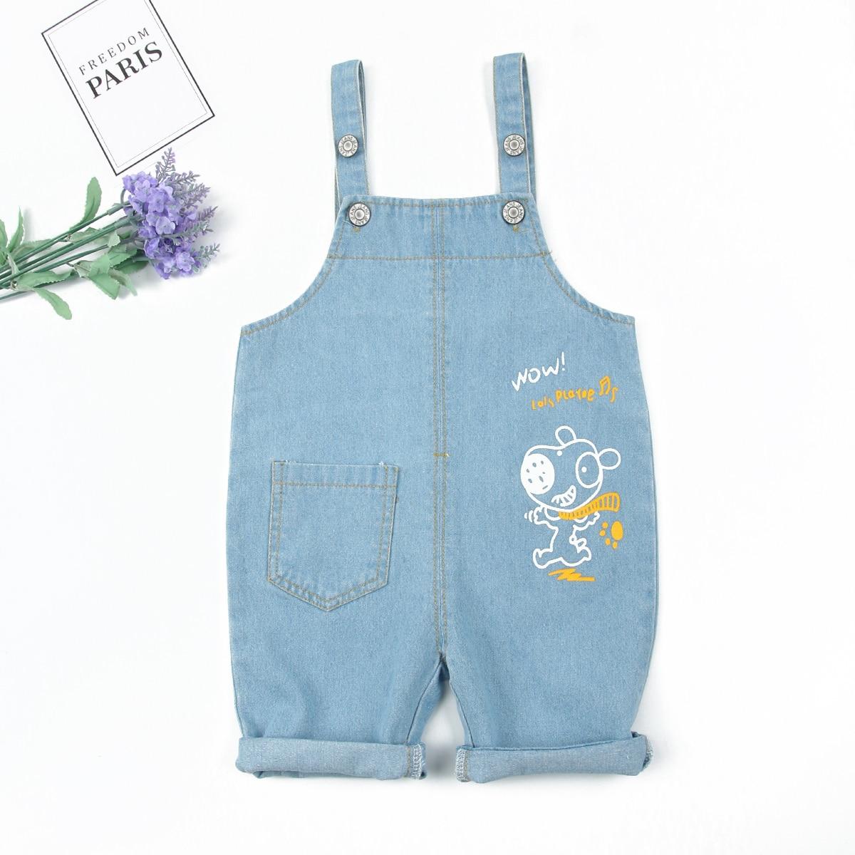 Джинсовый комбинезон с оригинальным принтом без футболки для мальчиков от SHEIN
