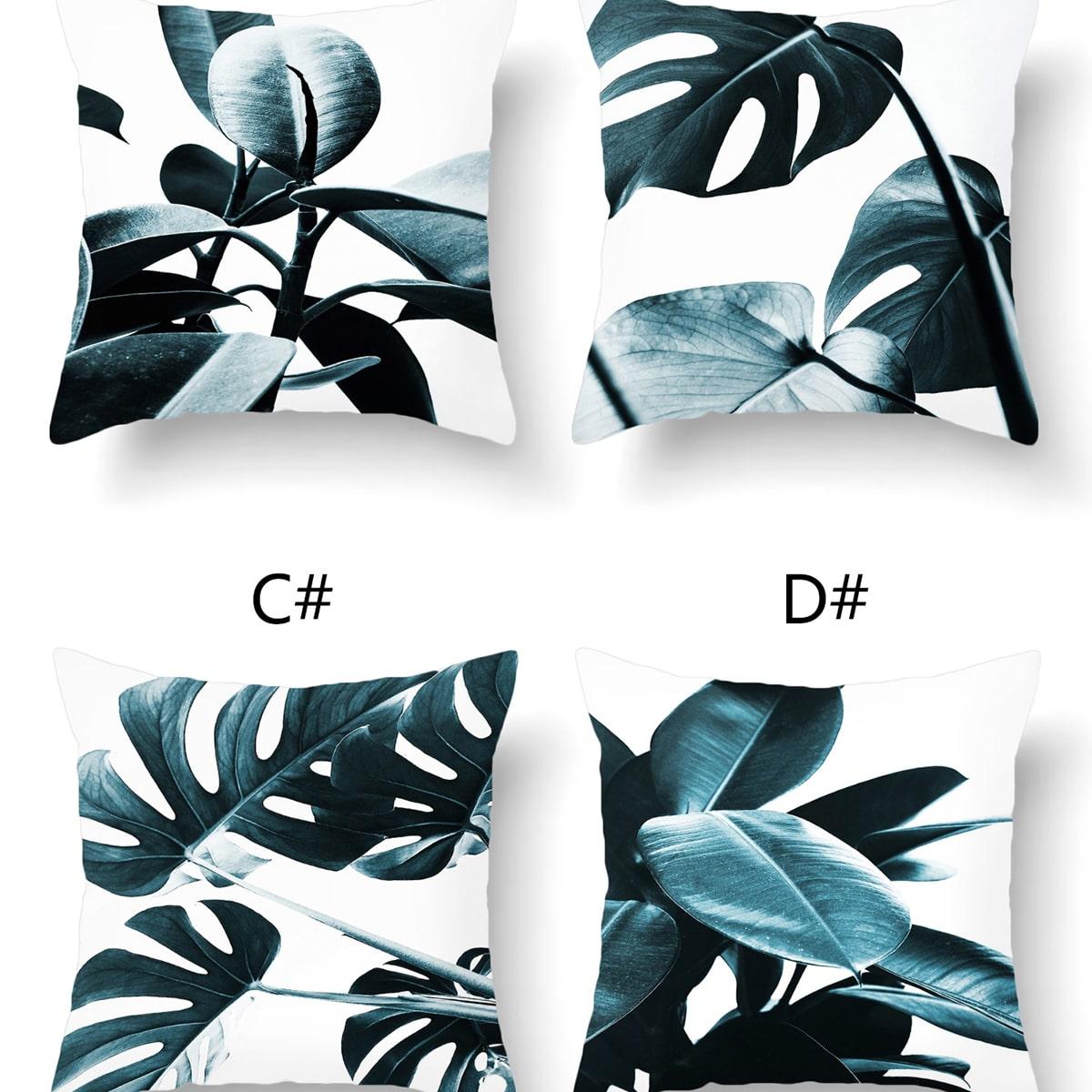Чехол для подушки с лиственным принтом 1шт без наполнителя фото