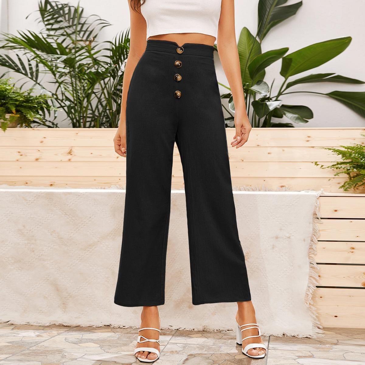 Широкие брюки с пуговицами фото