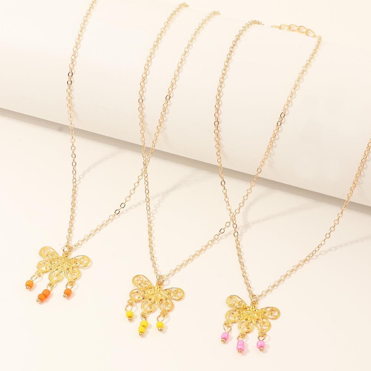 Ожерелье с бабочкой для девочек 3шт фото