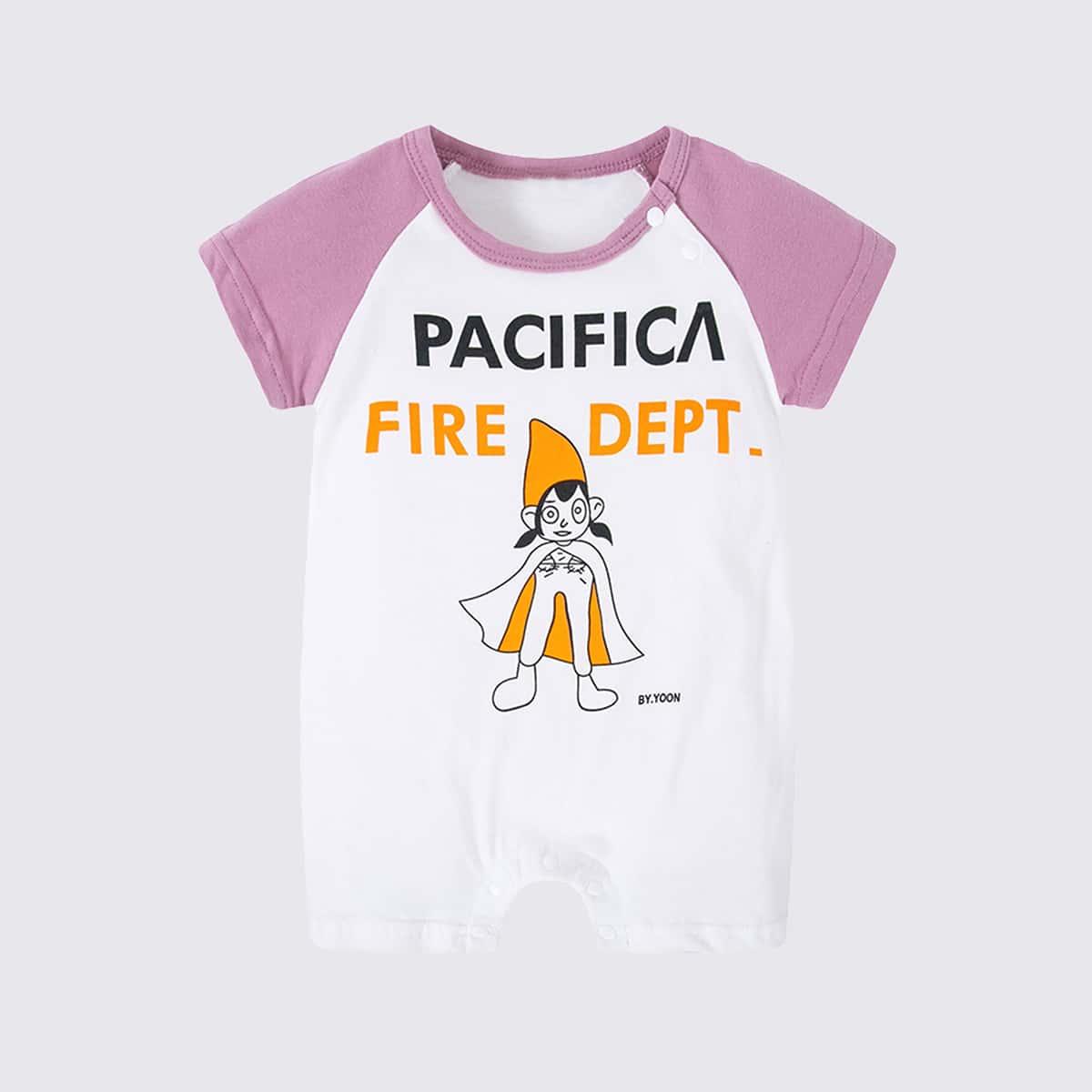 Комбинезон-футболка с текстовым и мультяшным принтом для девочек от SHEIN