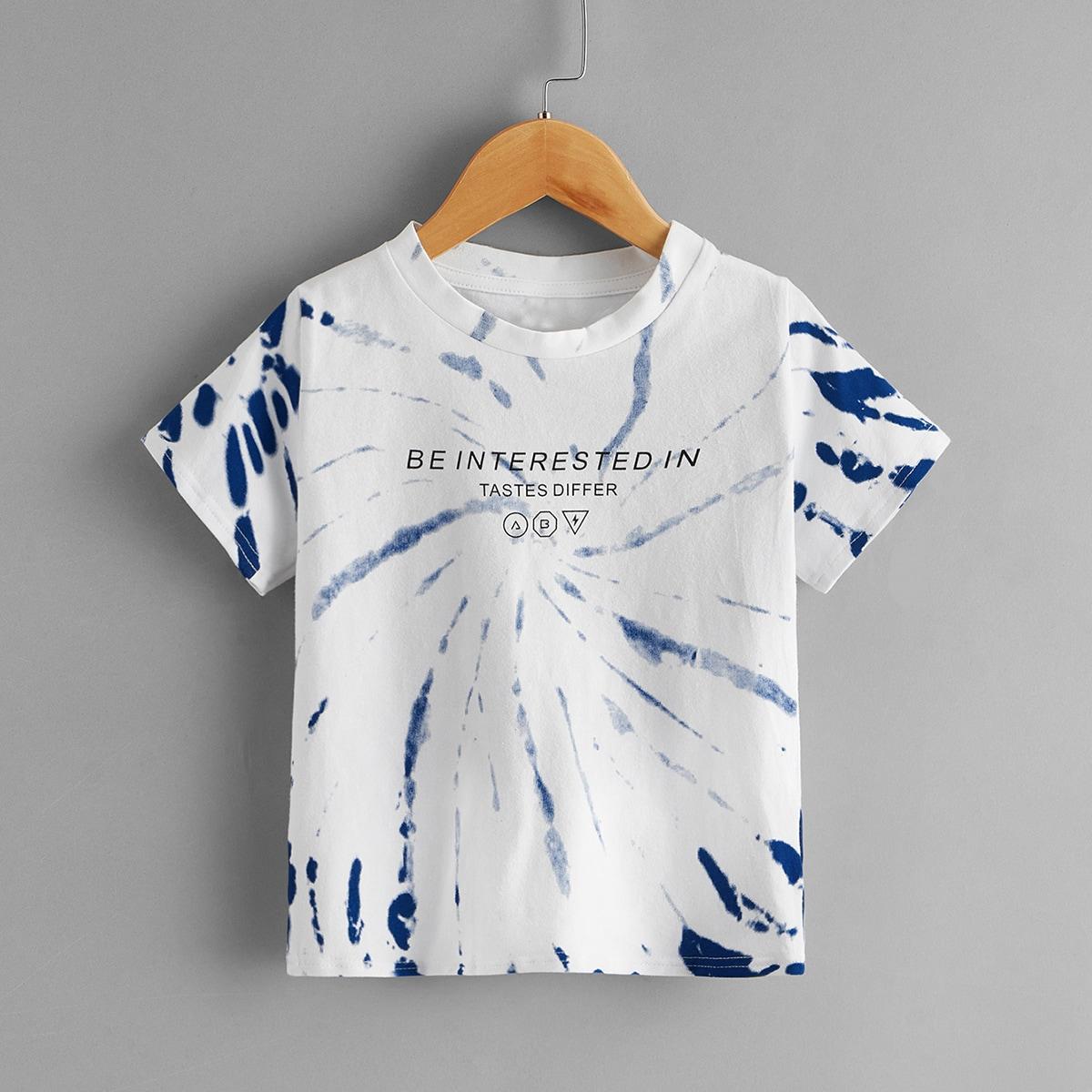 Разноцветная футболка с текстовым принтом для мальчиков от SHEIN