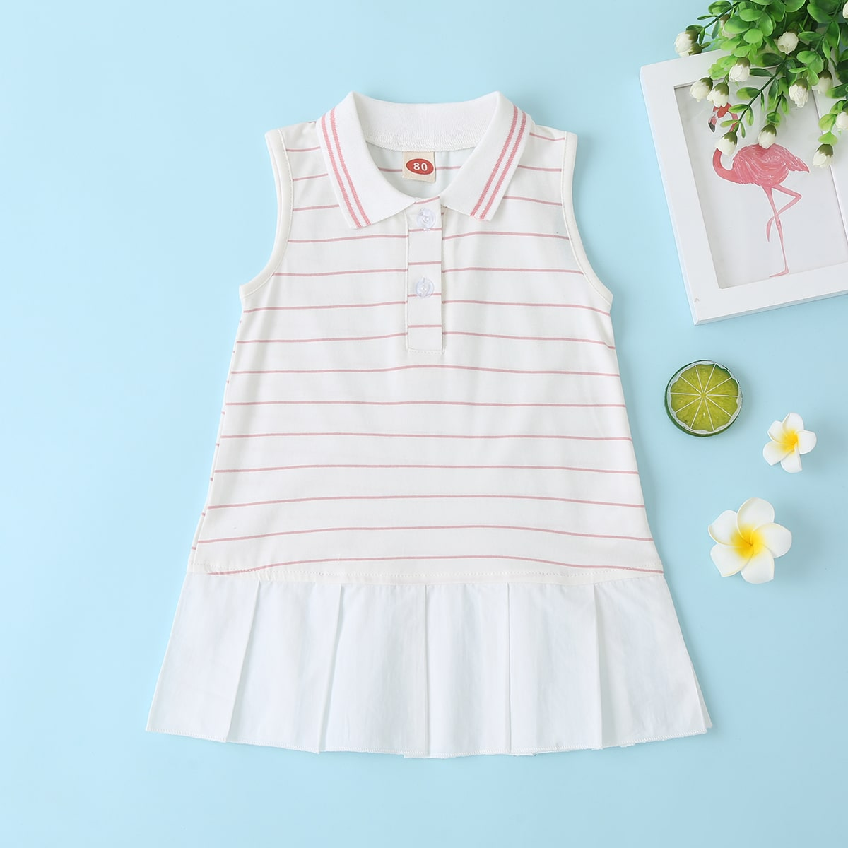 Полосатое платье с воротником поло для девочек от SHEIN