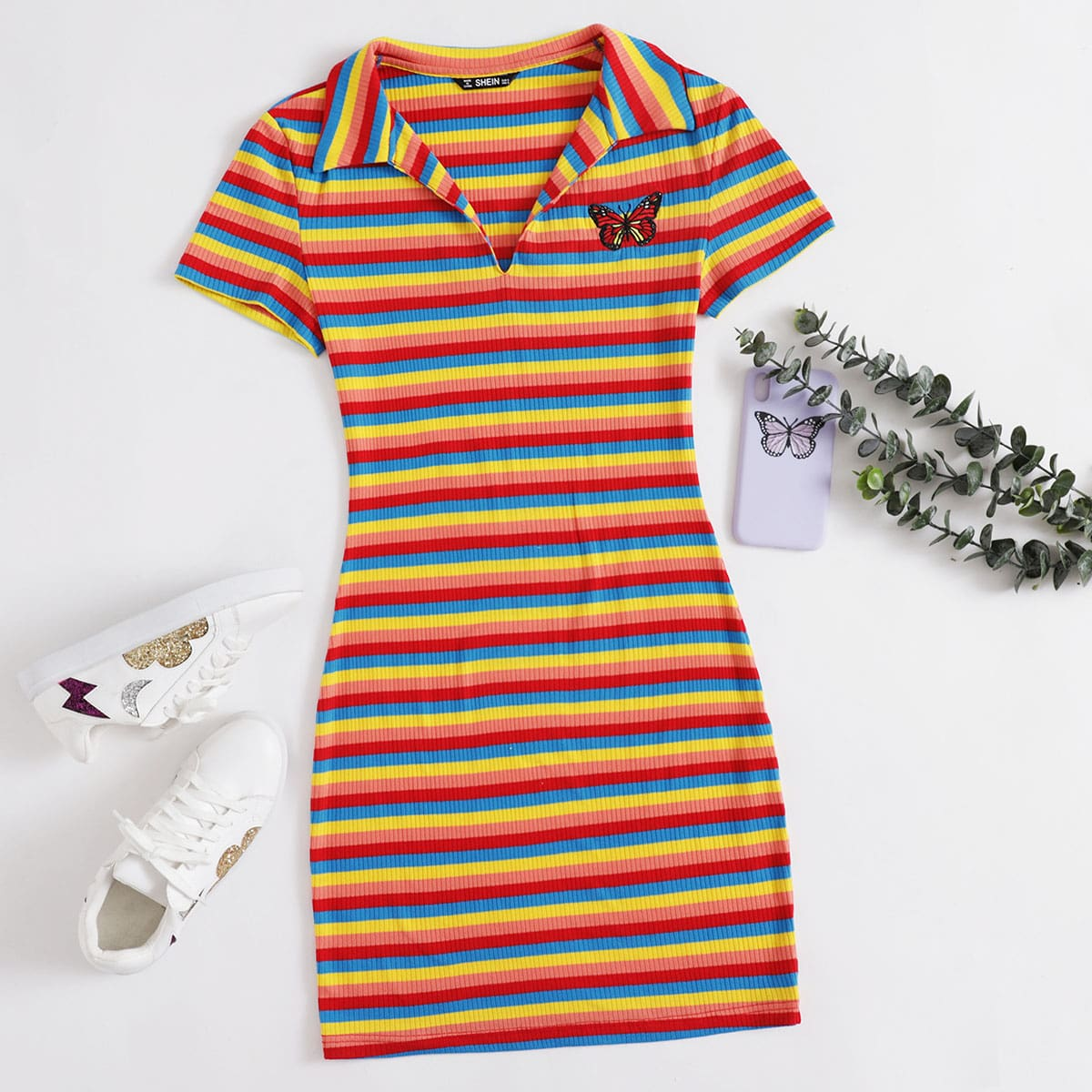 SHEIN / Ribbed Rainbow Striped Butterfly Graphic Dress