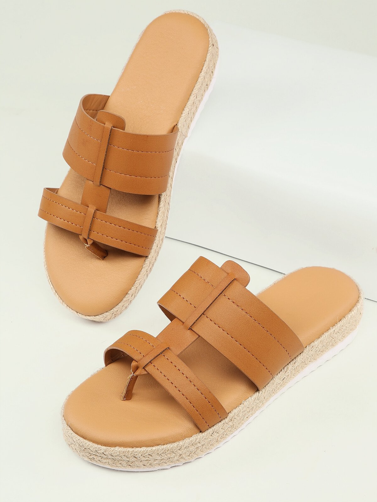 Double Band Open Toe Thong Flatform Sandals
