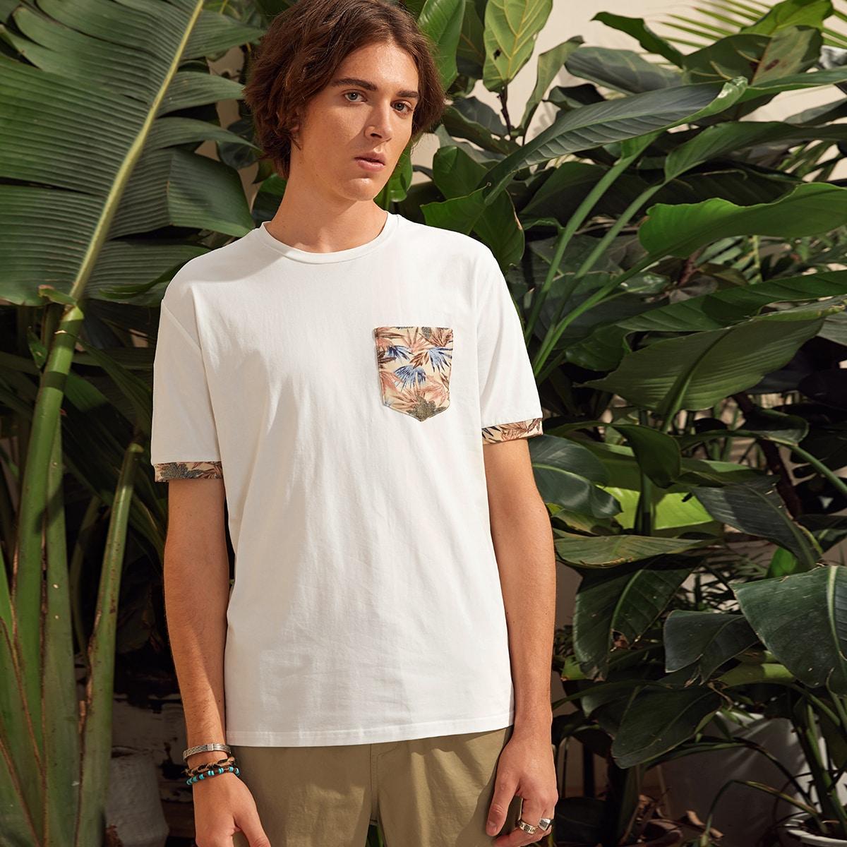 Мужская футболка с карманом и тропическим принтом
