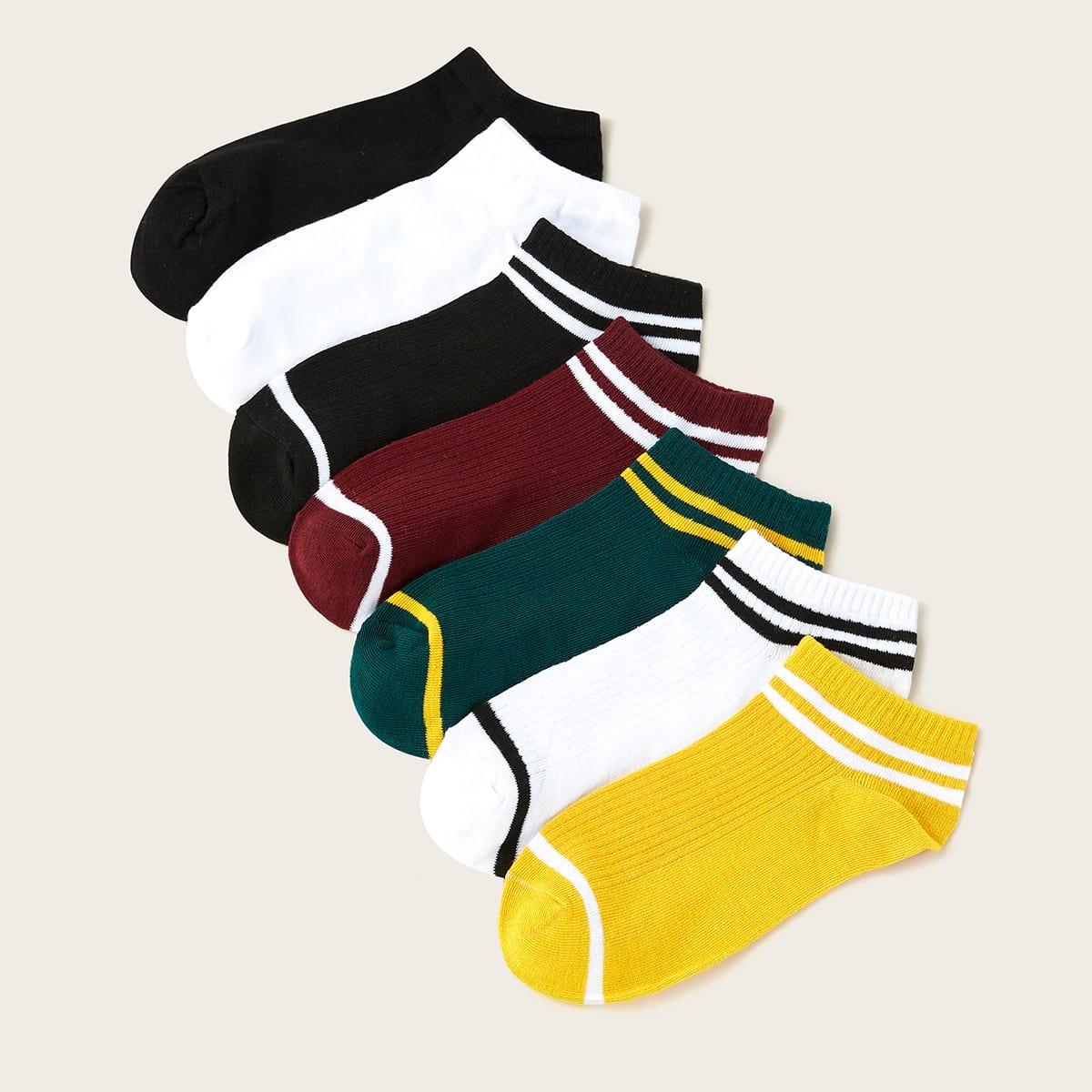 7 пар контрастные полосатые носки фото