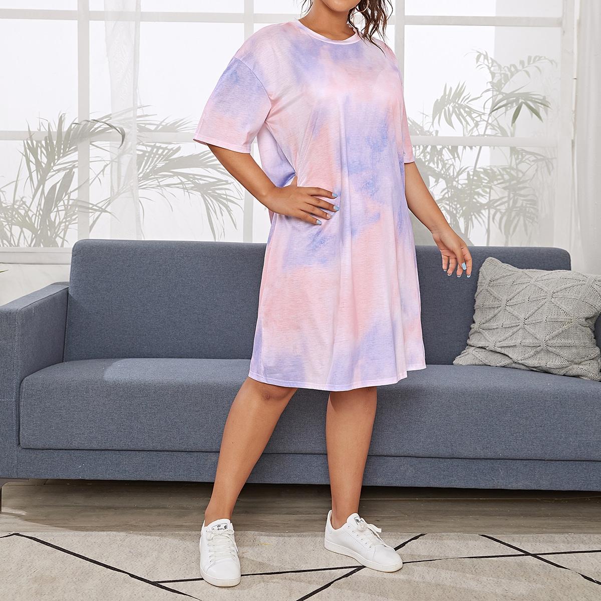 SHEIN / Plus Tie Dye Drop Shoulder Night Dress