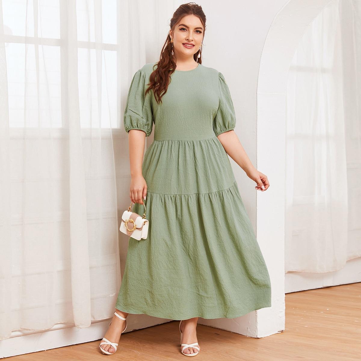 SHEIN / Kleid mit Laternenärmeln und Schößchen ohne Gürtel