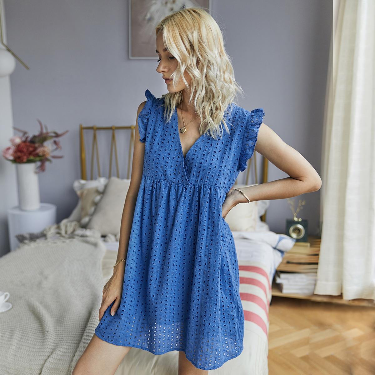 SHEIN / Eyelet Embroidery Ruffle Babydoll Dress