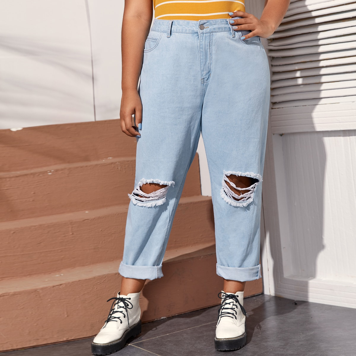 Рваные джинсы размера плюс фото