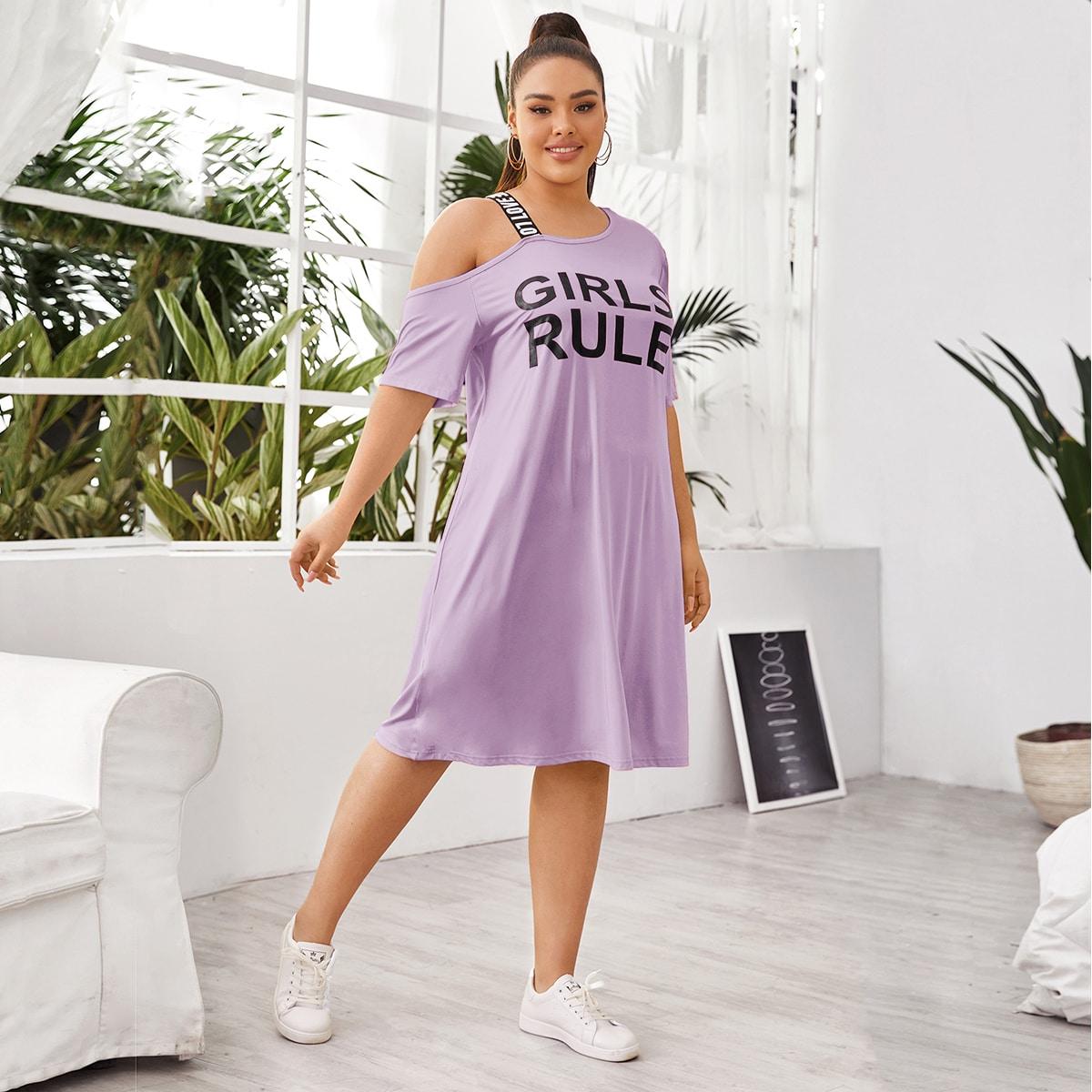 shein Lila paars Casual Tekst Grote maat jurk Asymmetrisch