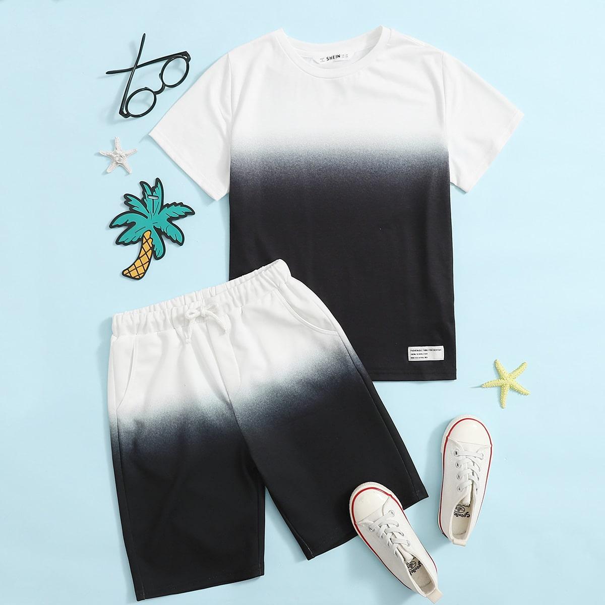 Градиентный топ и шорты для мальчиков от SHEIN