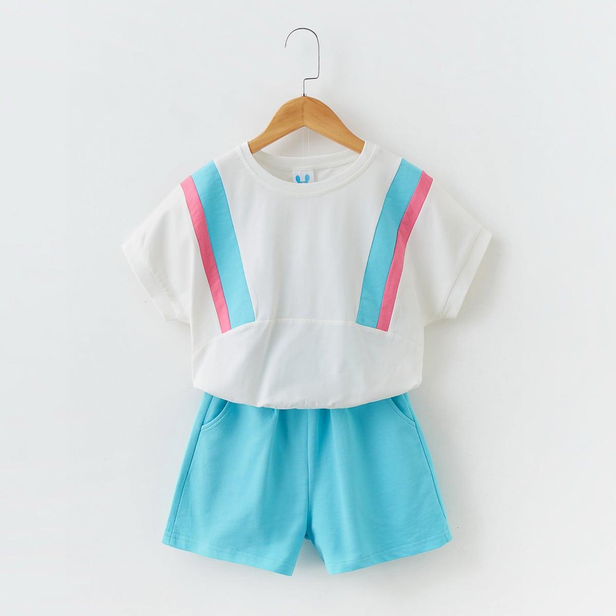 SHEIN / T-Shirt mit Farbblock, Fledermausärmeln & Shorts