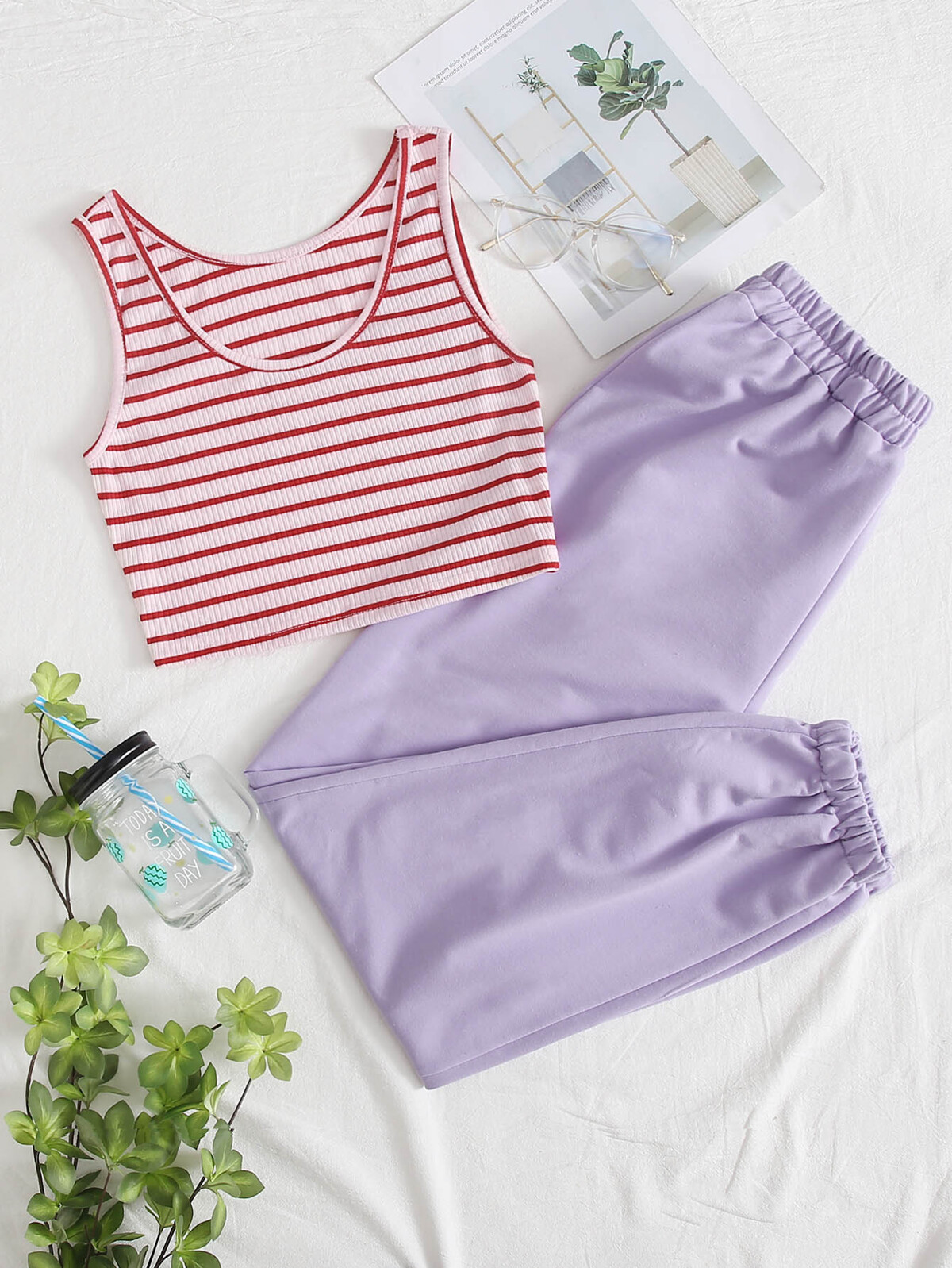 Striped Tank Top With Pants Lounge Set