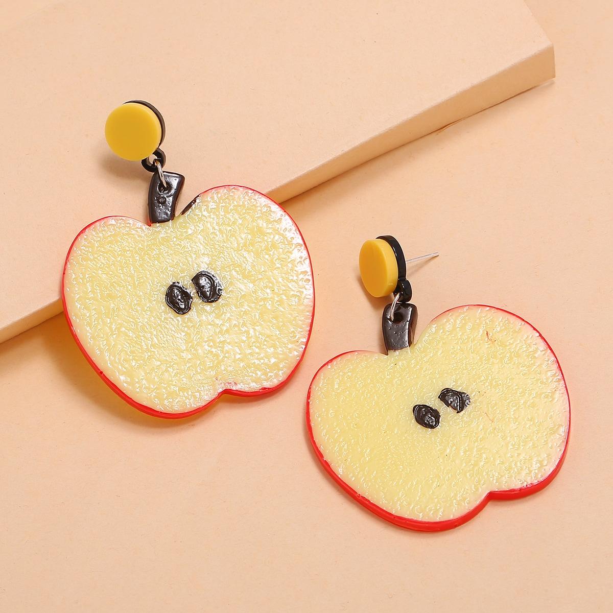 Серьги-подвески с яболками фото