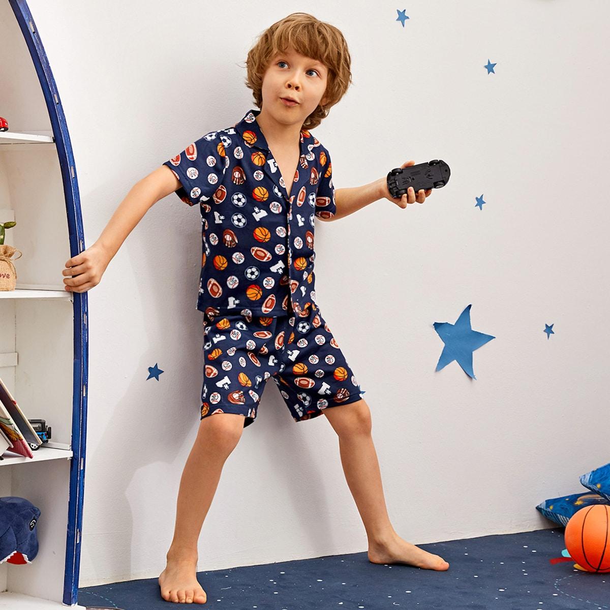 Атласная пижама с лацканом и принтом для мальчиков фото