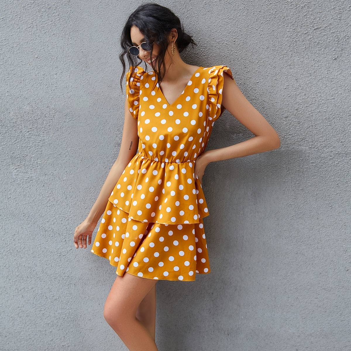 SHEIN / Polka Dot Layered Ruffle A-line Dress