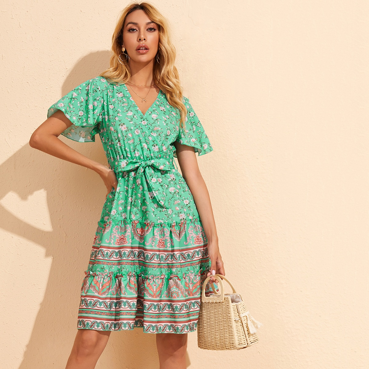 SHEIN / Surplice Neck Floral & Tribal Print Belted Dress
