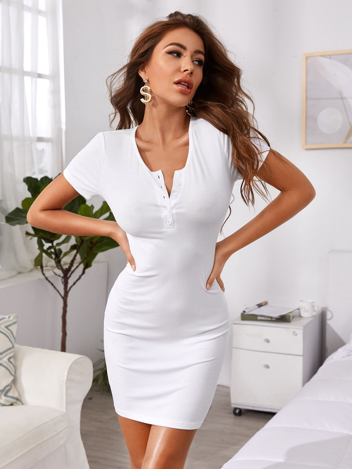 Buttoned Rib-knit Bodycon Lounge Dress