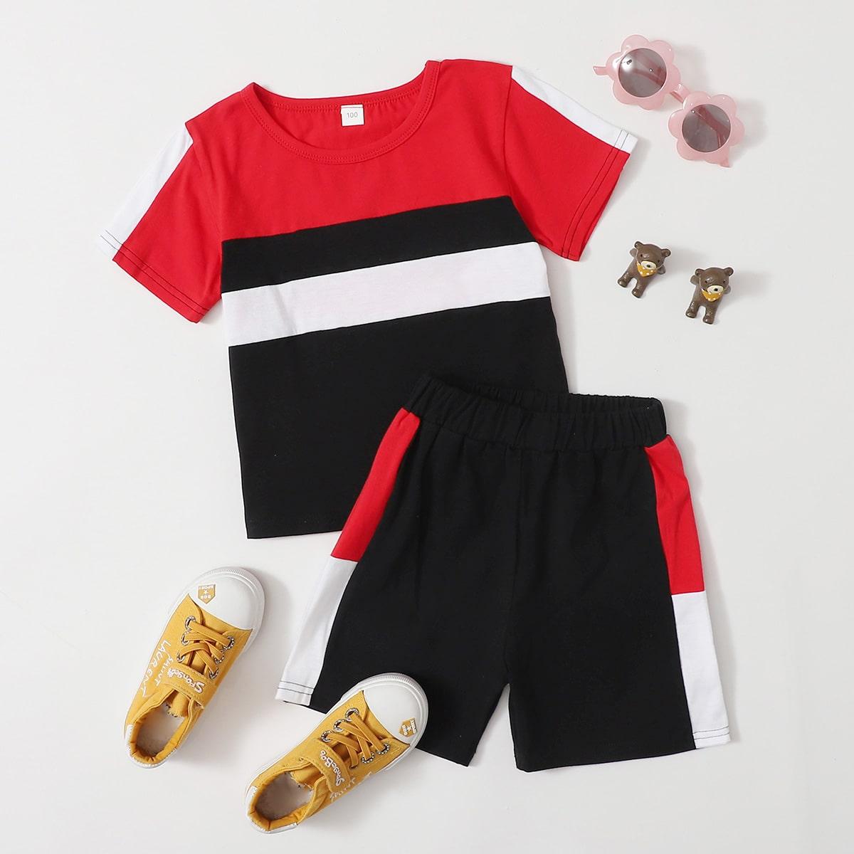 Многоцветный Контрастный цвет Спортивный Комплекты для мальчиков от SHEIN