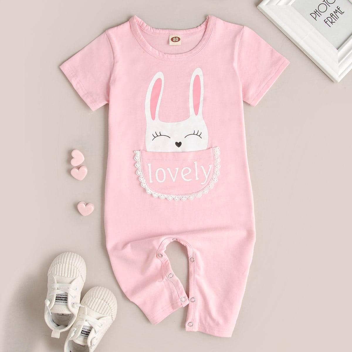 Нежний Розовый с карманами Текст милый Боди для малышей от SHEIN