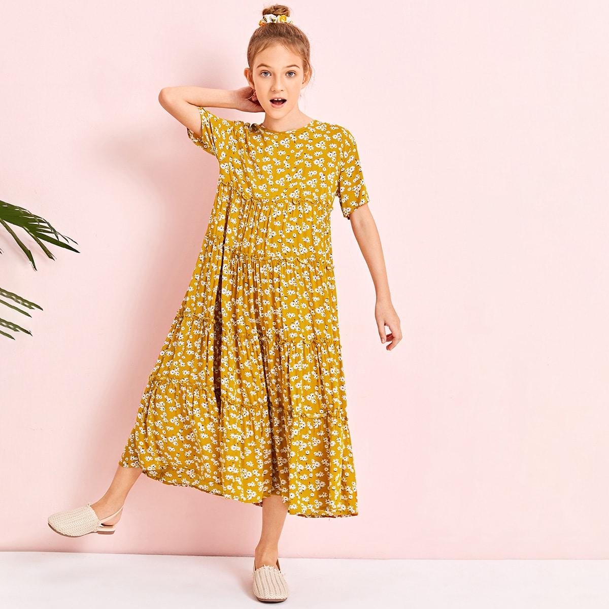 Платье с цветочным принтом для девочек фото