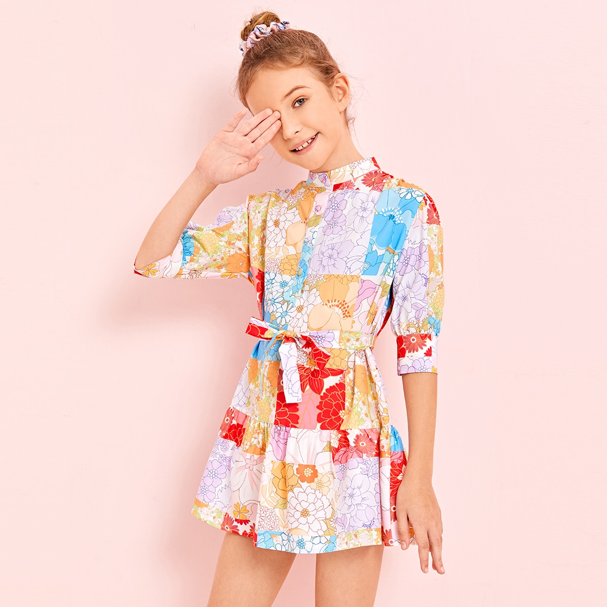SHEIN / Girls Mock-neck Floral Patchwork Self Belted Dress