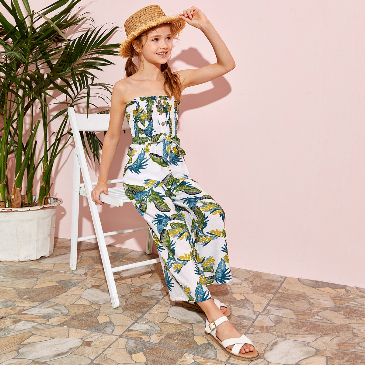 SHEIN / Girls Button Front Shirred Bodice Self Belted Tube Jumpsuit