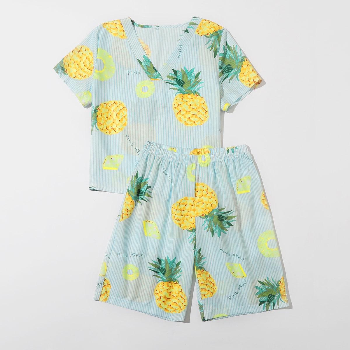 Пижама в полоску с ананасовым принтом для мальчиков фото