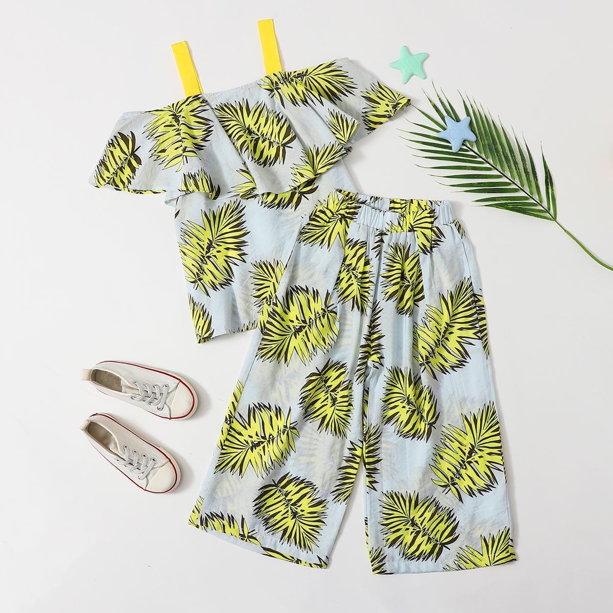 SHEIN / Schulterfreie Bluse mit Blatt Muster & Hose
