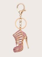 Rhinestone Decor Heel Charm Keychain