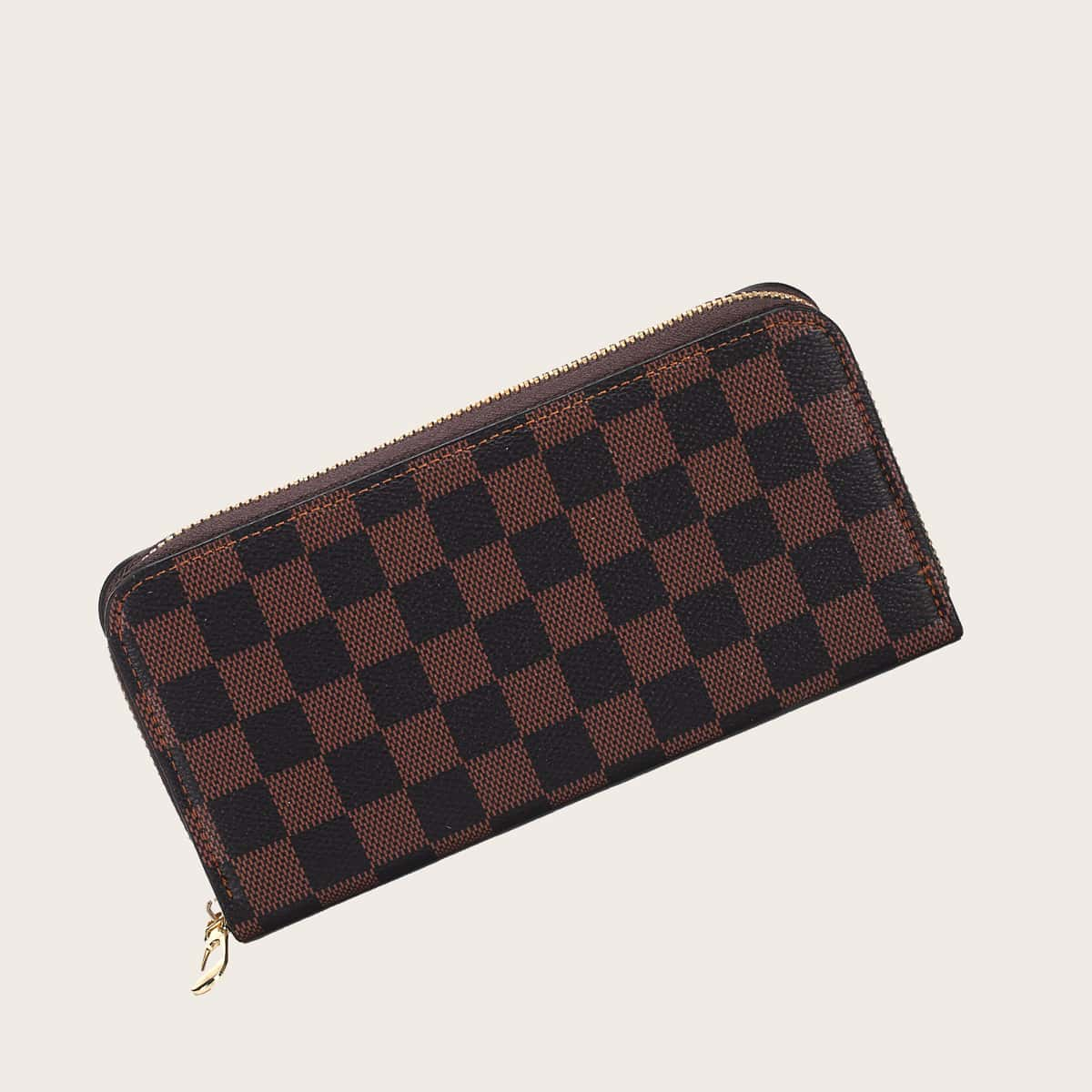 Men Checkered Zip Around Purse (smbag18200527352) photo