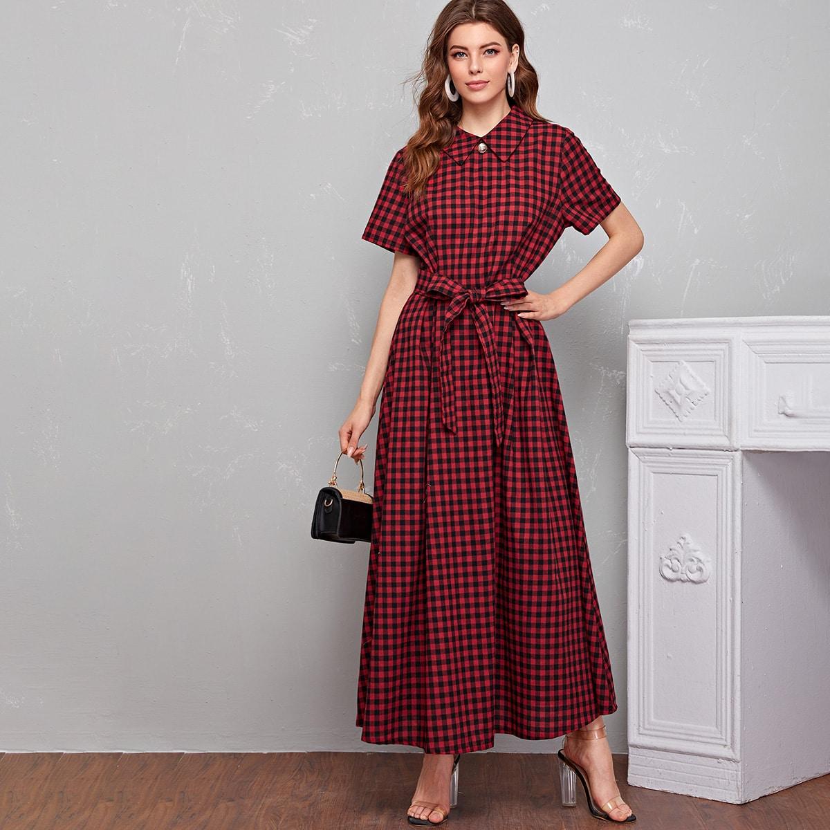 Платье макси в клетку с поясом фото