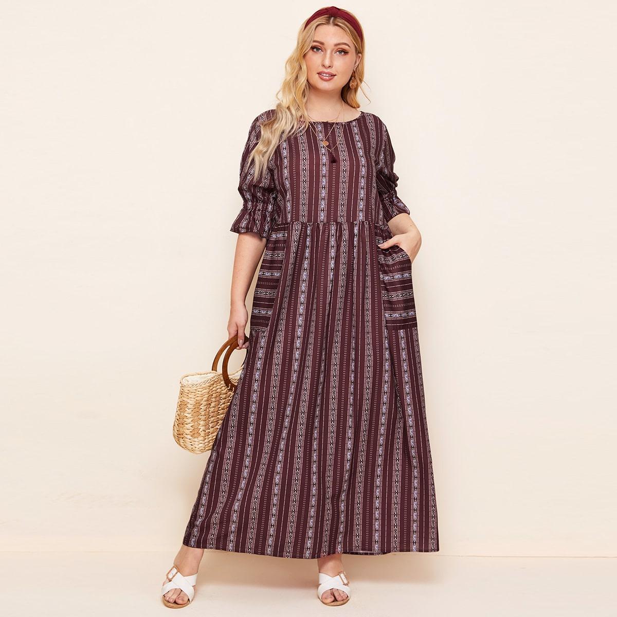 Платье макси размера плюс с племенным принтом и карманом фото