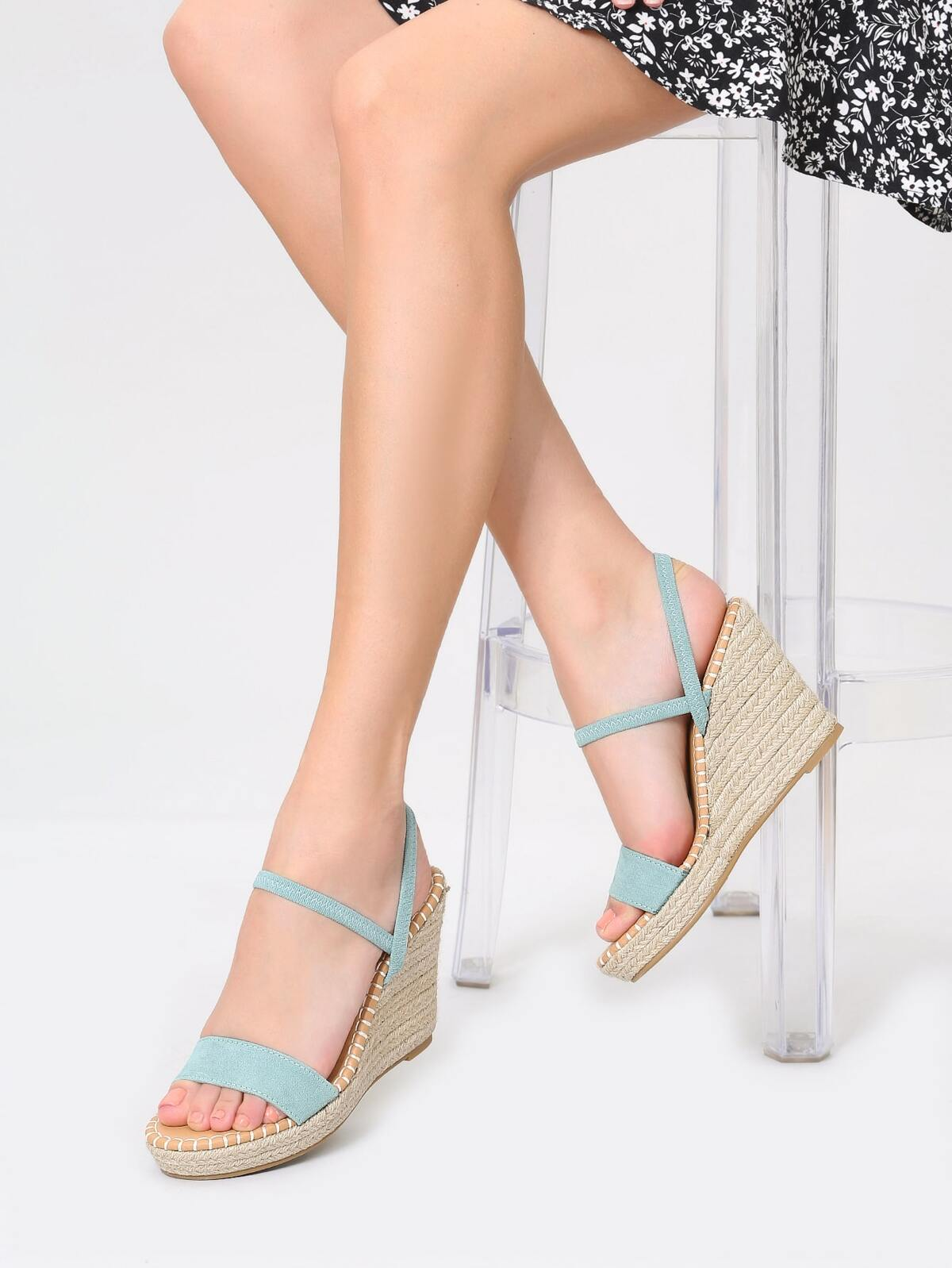 Open Toe Ankle Strap Platform Wedge Sandals