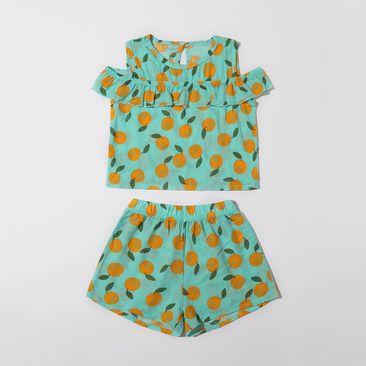 Зелёные с воланами Фрукты и овощи милый Домашняя одежда для девочек от SHEIN