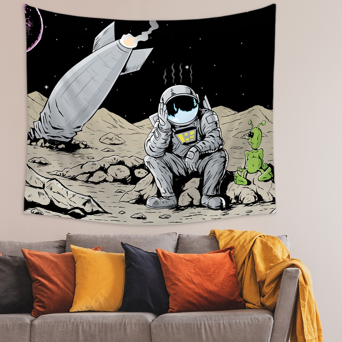Гобелен с принтом астронавта фото