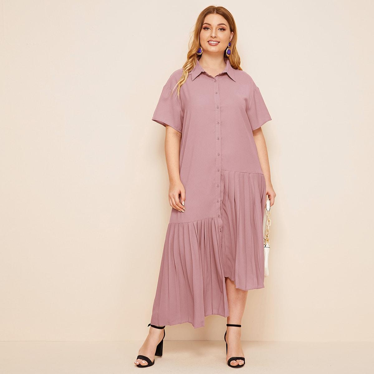 Однобортное асимметричное плиссированное платье размера плюс фото