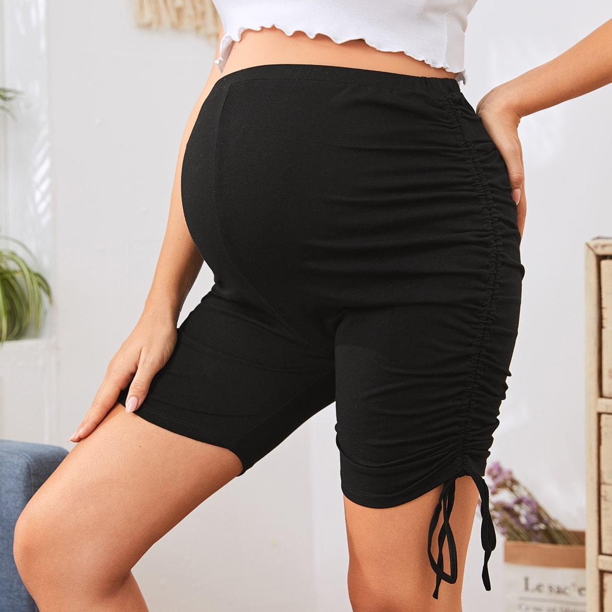Байкерские шорты для беременных на кулиске от SHEIN