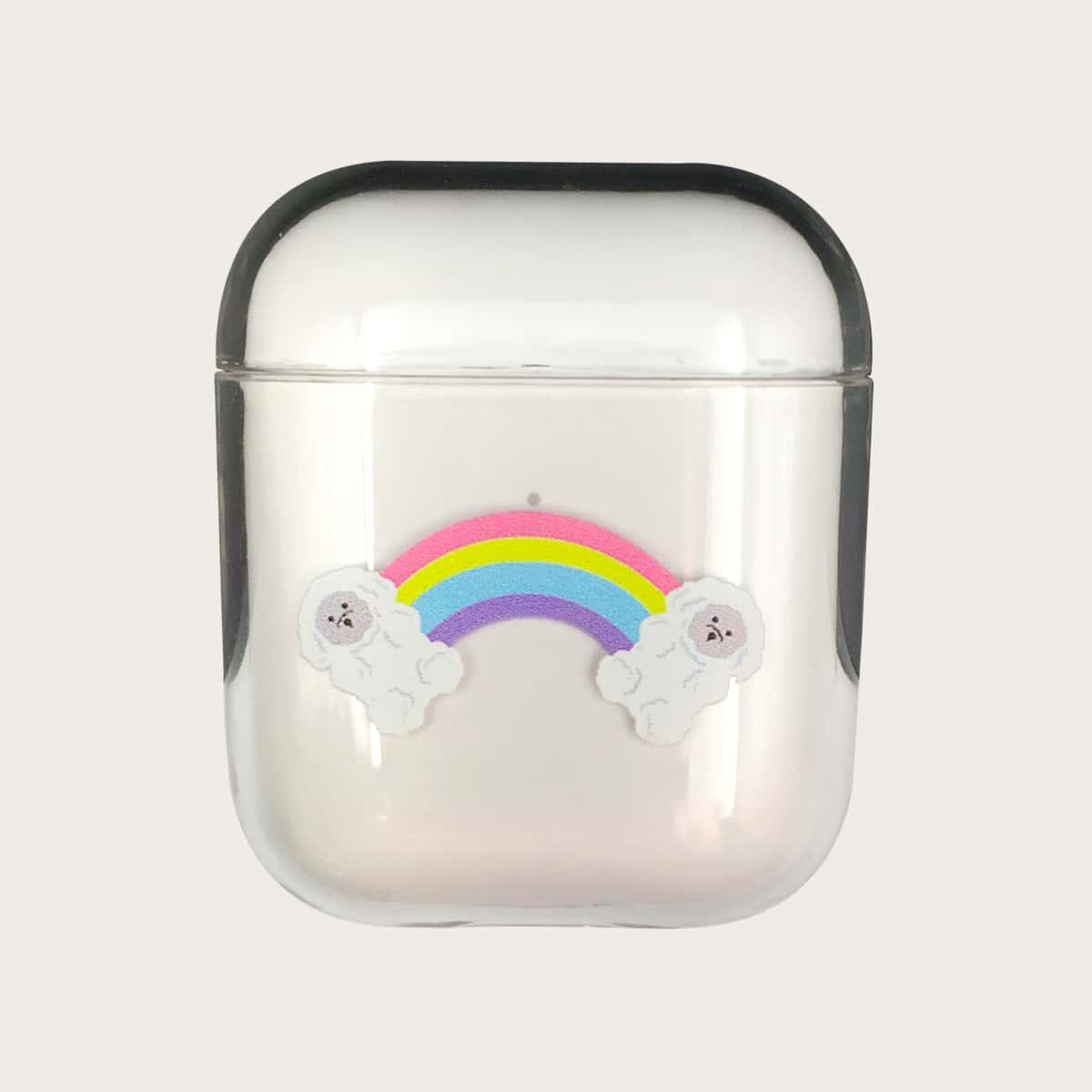 SHEIN / 1 Stück Transparente Airpods Hülle mit Regenbogen Muster
