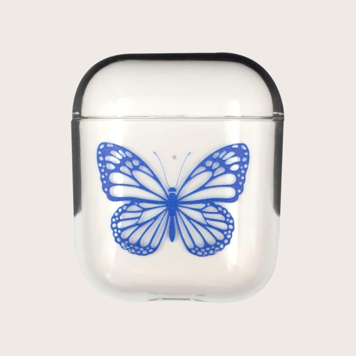 SHEIN / 1 Stück Transparente Airpods Hülle mit Schmetterling Muster