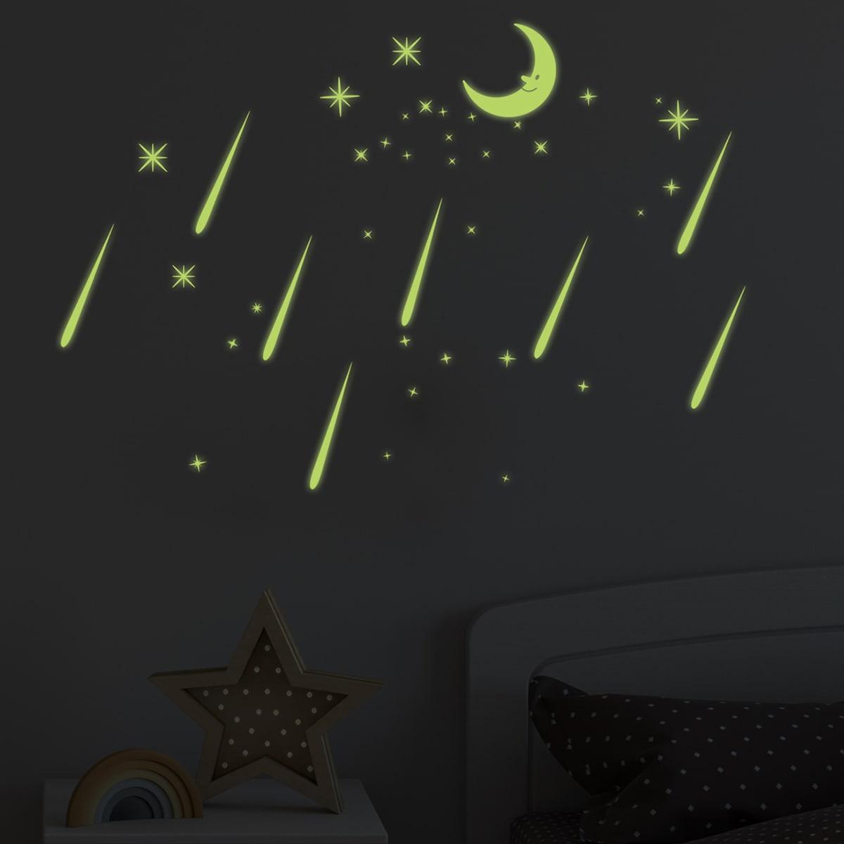 Светящийся стикер для стены с узором луны фото